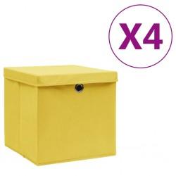 stradeXL Pudełka z pokrywami, 4 szt., 28x28x28 cm, żółte