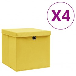 stradeXL Storage Boxes with Covers 4 pcs 28x28x28 cm Yellow