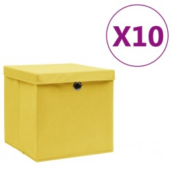 stradeXL Storage Boxes with Covers 10 pcs 28x28x28 cm Yellow