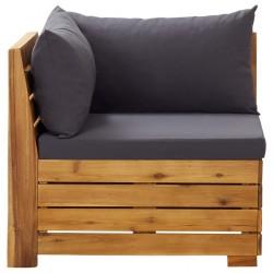 stradeXL Moduł sofy narożnej, 1 szt., z poduszkami, lite drewno akacjowe