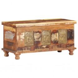 stradeXL Storage Box with Buddha Cladding 90x35x45 cm Reclaimed Wood