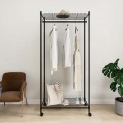 stradeXL 2-poziomowy wieszak na ubrania, z kółkami, 90x45x186 cm, 100 kg