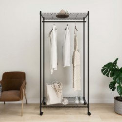 stradeXL 2-Tier Clothes Rack with Wheels 90x45x186 cm Black 100 kg