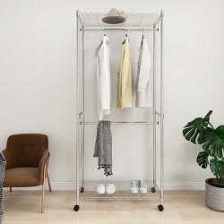 stradeXL 2-Tier Clothes Rack with Wheels 90x45x198 cm Chrome 100 kg