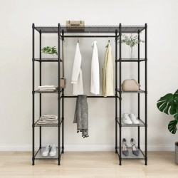 stradeXL Rozsuwany stojak na ubrania, czarny, 500 kg