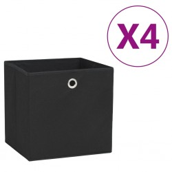 stradeXL Pudełka z włókniny, 4 szt., 28x28x28 cm, czarne