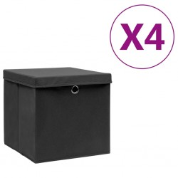 stradeXL Pudełka z pokrywami, 4 szt., 28x28x28 cm, czarne
