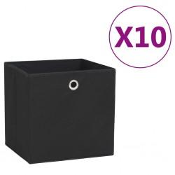 stradeXL Storage Boxes 10 pcs Non-woven Fabric 28x28x28 cm Black