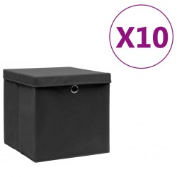 stradeXL Storage Boxes with Covers 10 pcs 28x28x28 cm Black