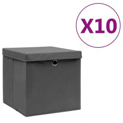 stradeXL Storage Boxes with Covers 10 pcs 28x28x28 cm Grey