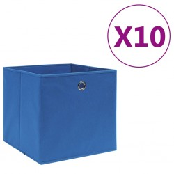 stradeXL Storage Boxes 10 pcs Non-woven Fabric 28x28x28 cm Blue
