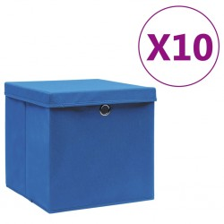 stradeXL Storage Boxes with Covers 10 pcs 28x28x28 cm Blue