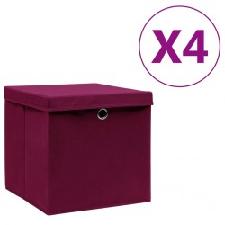 stradeXL Storage Boxes with Covers 4 pcs 28x28x28 cm Dark Red