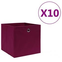 stradeXL Storage Boxes 10 pcs Non-woven Fabric 28x28x28 cm Dark Red