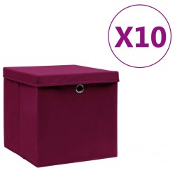 stradeXL Storage Boxes with Covers 10 pcs 28x28x28 cm Dark Red