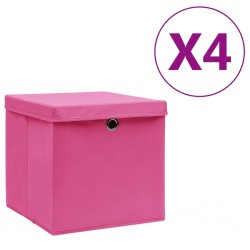 stradeXL Storage Boxes with Covers 4 pcs 28x28x28 cm Pink