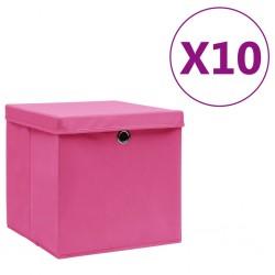 stradeXL Pudełka z pokrywami, 10 szt., 28x28x28 cm, różowe