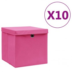 stradeXL Storage Boxes with Covers 10 pcs 28x28x28 cm Pink