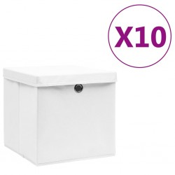 stradeXL Storage Boxes with Covers 10 pcs 28x28x28 cm White