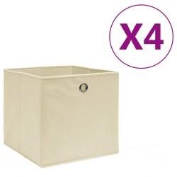 stradeXL Storage Boxes 4 pcs Non-woven Fabric 28x28x28 cm Cream