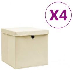 stradeXL Storage Boxes with Covers 4 pcs 28x28x28 cm Cream