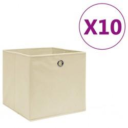 stradeXL Storage Boxes 10 pcs Non-woven Fabric 28x28x28 cm Cream