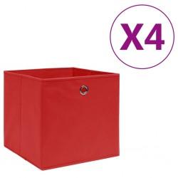 stradeXL Storage Boxes 4 pcs Non-woven Fabric 28x28x28 cm Red