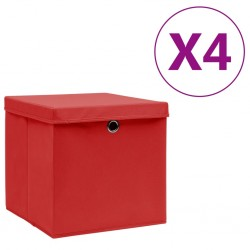 stradeXL Storage Boxes with Covers 4 pcs 28x28x28 cm Red