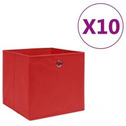 stradeXL Storage Boxes 10 pcs Non-woven Fabric 28x28x28 cm Red