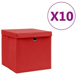 stradeXL Storage Boxes with Covers 10 pcs 28x28x28 cm Red