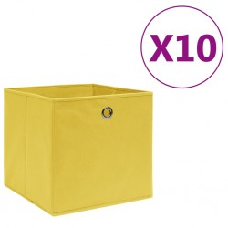 stradeXL Storage Boxes 10 pcs Non-woven Fabric 28x28x28 cm Yellow