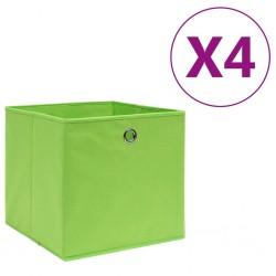 stradeXL Storage Boxes 4 pcs Non-woven Fabric 28x28x28 cm Green