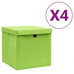 stradeXL Storage Boxes with Covers 4 pcs 28x28x28 cm Green