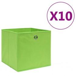 stradeXL Storage Boxes 10 pcs Non-woven Fabric 28x28x28 cm Green