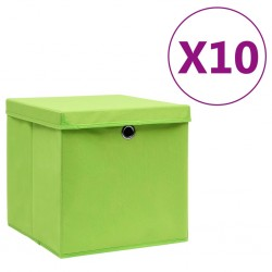 stradeXL Storage Boxes with Covers 10 pcs 28x28x28 cm Green