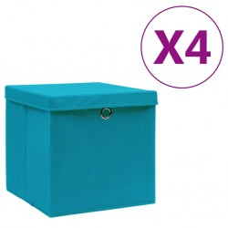 stradeXL Storage Boxes with Covers 4 pcs 28x28x28 cm Baby Blue