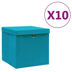 stradeXL Storage Boxes with Covers 10 pcs 28x28x28 cm Baby Blue