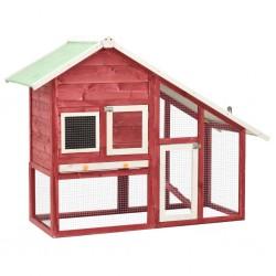 stradeXL Domek dla królika, czerwono-biały 140x63x120 cm, drewno jodłowe