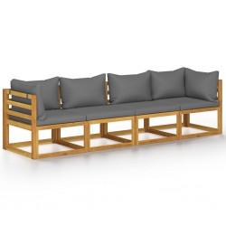 stradeXL 4-osobowa sofa ogrodowa z poduszkami, lite drewno akacjowe