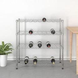 stradeXL 4-piętrowy stojak na 36 butelek wina, chromowane żelazo