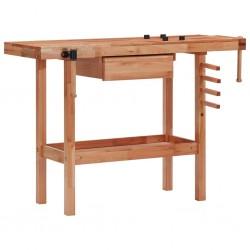 stradeXL Stolarski stół warsztatowy z szufladą i 2 imadłami, drewniany