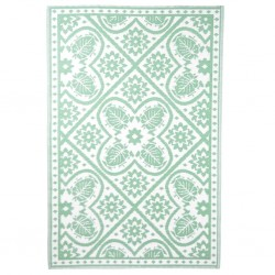 Esschert Design Dywan zewnętrzny, 182x122 cm, wzór biało-zielony