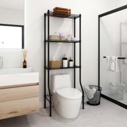 stradeXL 3-poziomowy regał nad toaletę, czarny, 55x30x150 cm, żelazo