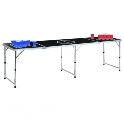stradeXL Folding Beer Pong Table with Cups and Balls 240 cm