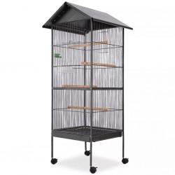 stradeXL Klatka dla ptaków, stalowa, czarna, 66x66x155cm