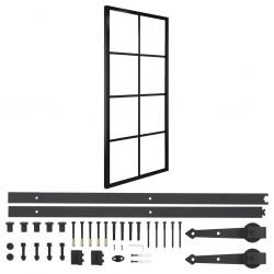 stradeXL Drzwi przesuwne, aluminium i szkło ESG, z osprzętem, 76x205 cm