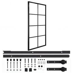 stradeXL Drzwi przesuwne, aluminium i szkło ESG, z osprzętem, 90x205 cm