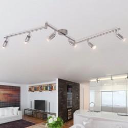 stradeXL Lampa sufitowa z 6 LED satynowy nikiel