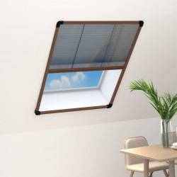stradeXL Plisowana moskitiera okienna, aluminium, brązowa, 80x120 cm