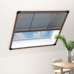 stradeXL Plisowana moskitiera okienna, aluminium, brązowa, 120x120 cm
